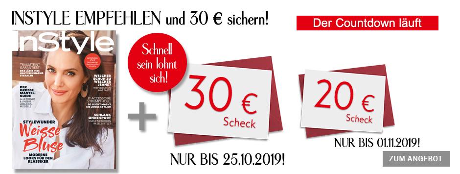 InStyle - Countdown Prämien-Abo und 30 € Scheck 12.10.2019