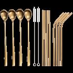 Trinkhalm Set 14-tlg. in Gold